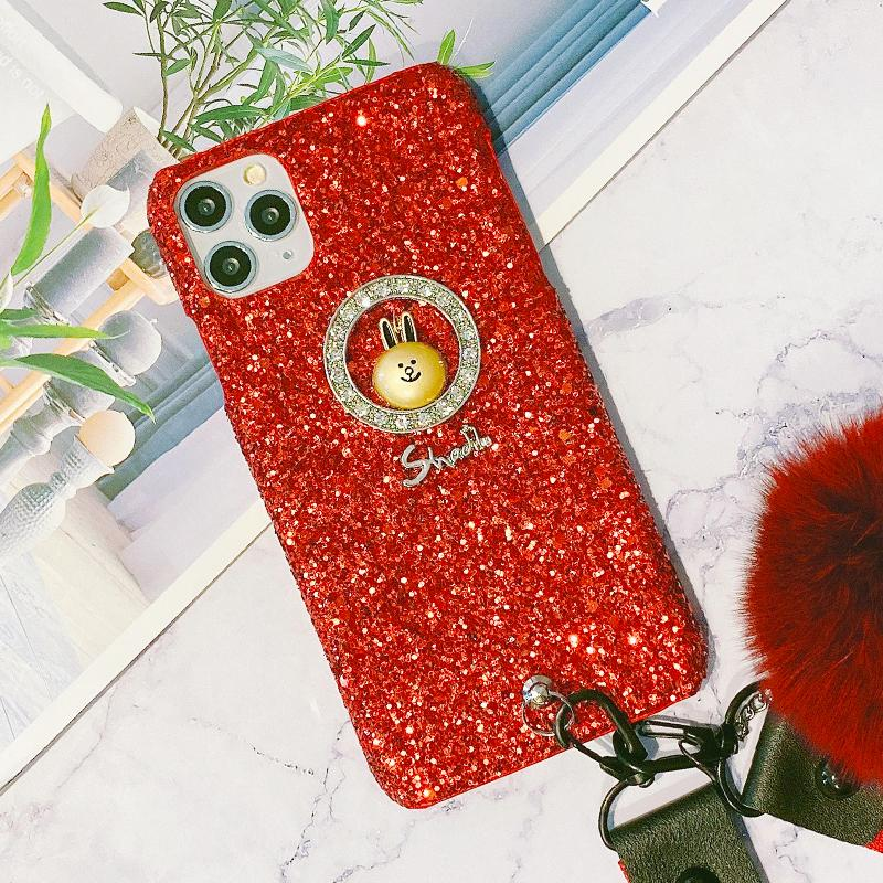 Chic Sparkling iPhone Case with Phone Holder and Pom-pom