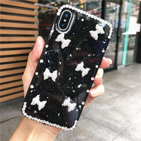 Little Bowknot Rhinestone Clear Transparent Phone Case for Samsung gallery 11
