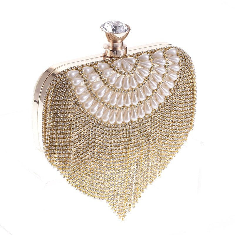 Pearls & Tasseled Deco Evening Bag Clutch Purses