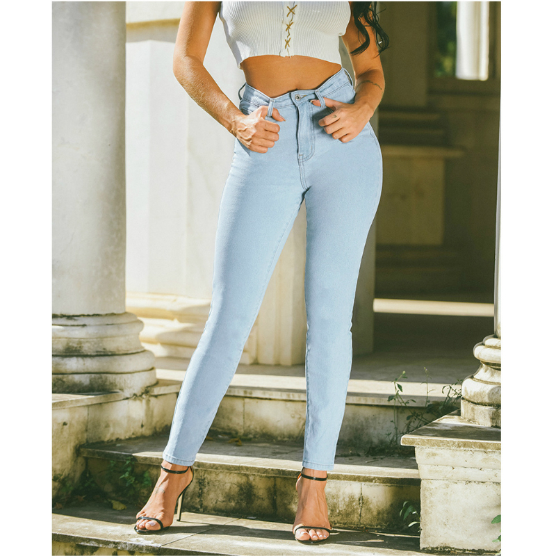 High Rise Elastic Solid Color Skinny Jeans