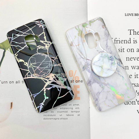 Marble Design Ceramic Pattern Super Slim Cover Jade Image Shell Phone Case for Samsung with Phone Holder gallery 6