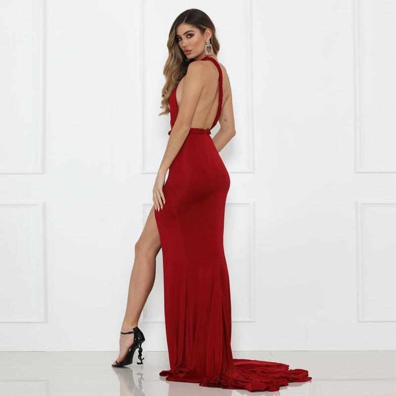 Elegant One Shoulder Backless Split Side Maxi Dress