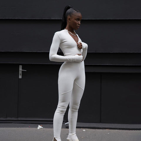 Zip Front Solid Fitness Stretchy Jumpsuit