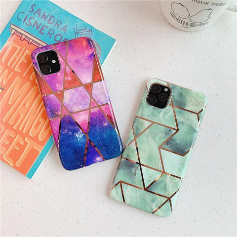 Asymmetric Marble Print Phone Case for Samsung gallery 6