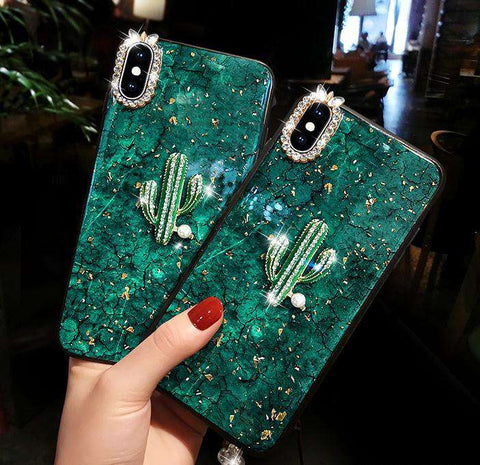 Green Gold Foil iPhone Case with Chain and Diamond