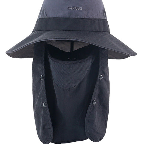 UV Protection Wide Brim Foldable Hat with Removable Mask gallery 2