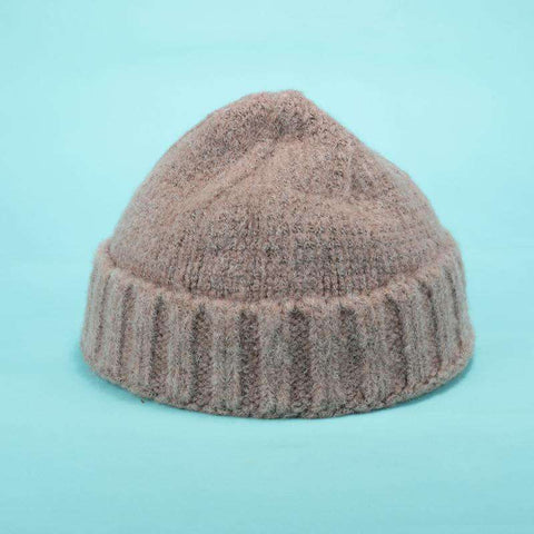 Solid-color Stitch Knit Beanie Hat gallery 7