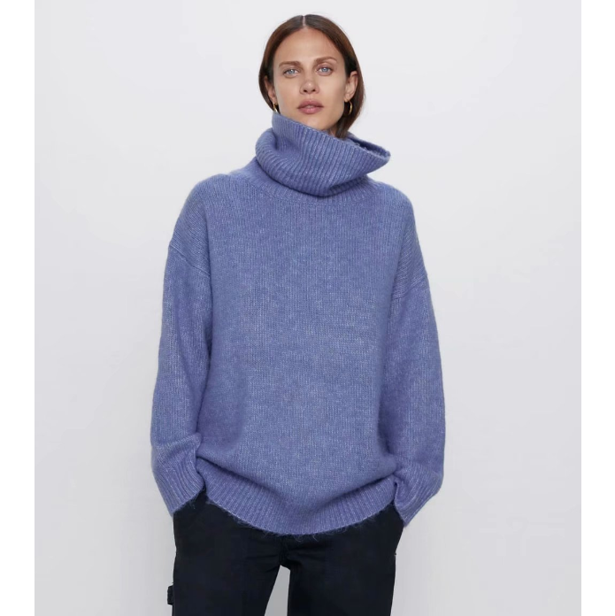 Oversize Solid Color Roll Neck Rib Knit Sweater