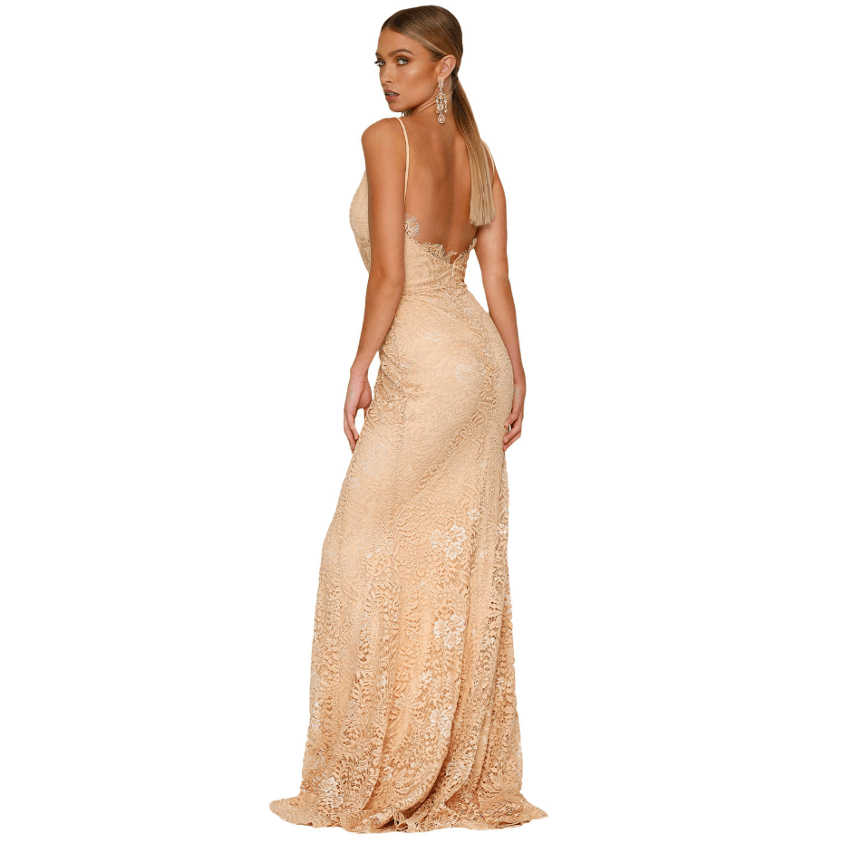Sexy Eyelash Lace Detail Open Back Slit Side Maxi Dress