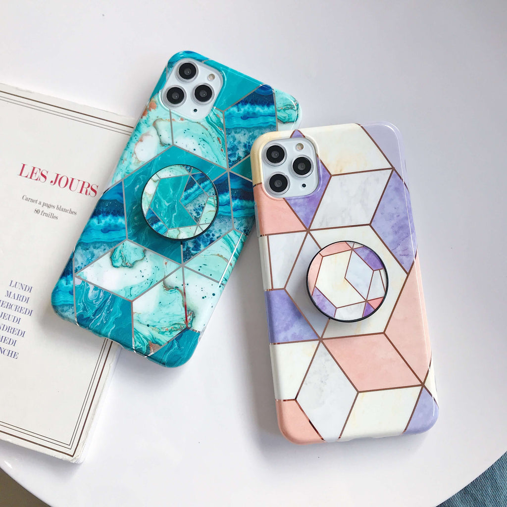 Electroplate Plaid Marble iPhone Case with Phone Holder