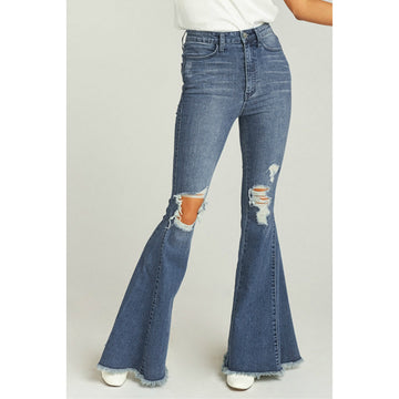 Retro High Waist Ripped Flared Jeans