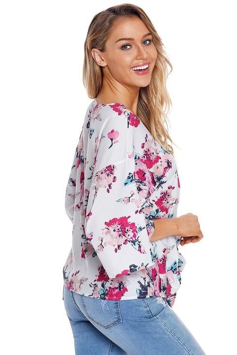 Floral Print Tie Front Kimono Sleeve Blouse gallery 6