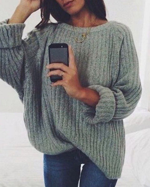 Chunky Knit Solid Oversized Sweater
