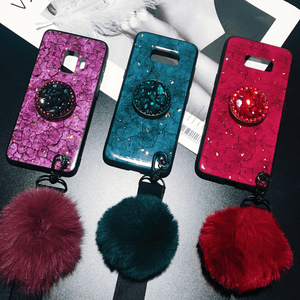 Samsung Fancy Marble Fur Ball Phone Case With Phone Holder
