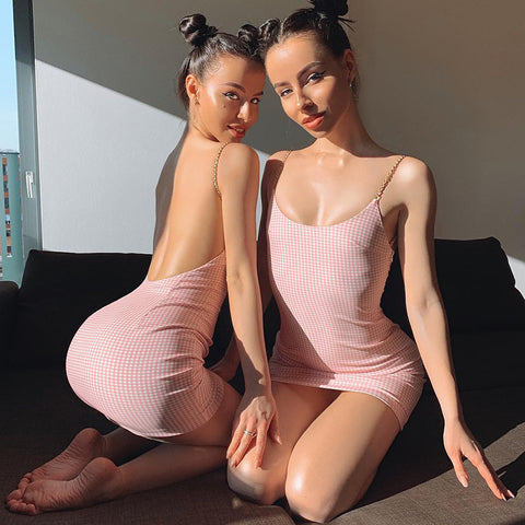 Pearl Twisted Strap Backless Pink Mini Dress gallery 5