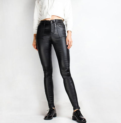 Faux Leather Solid Ankle Leggings