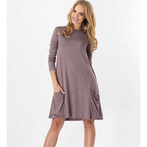 Solid Ruched Pockets Oversize Midi Dress