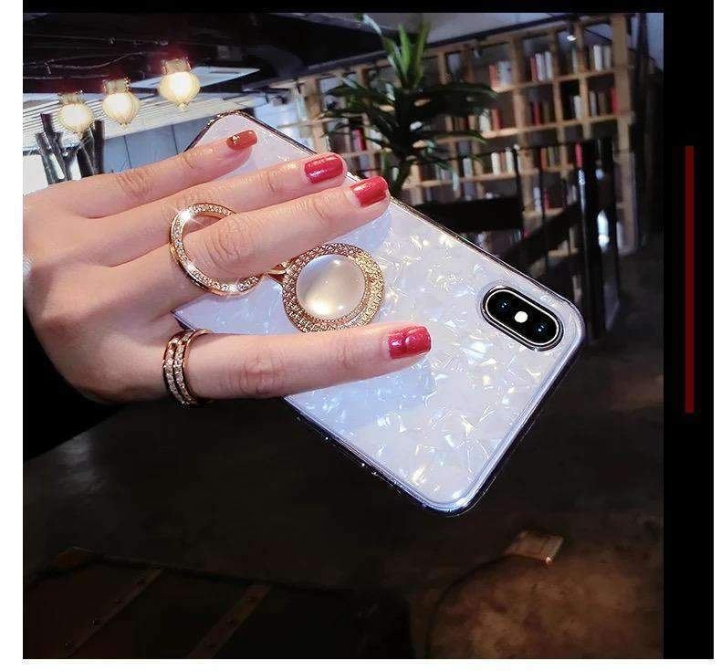 Elegant Shell Glittering Phone Case for Samsung with Shining Phone Holder