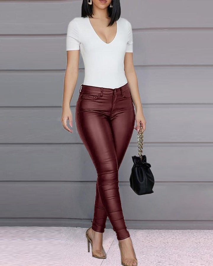 Solid Low Waist PU Leather Skinny Pants gallery 4