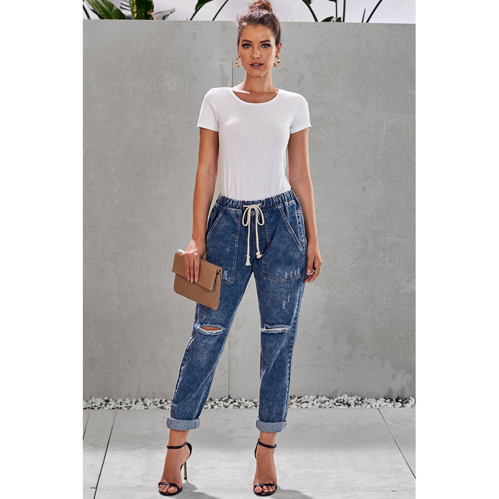 Loose Tie Rope Knee Ripped Mom Jeans
