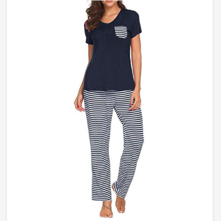 V-Neck Stripe Detail Pocket Front PJ Set