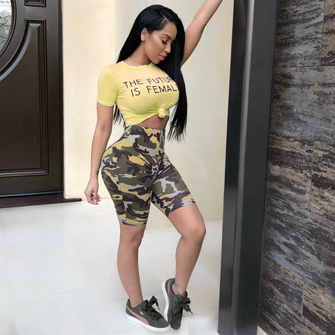Camo Letter Print Knot Front Top & Short Set gallery 2