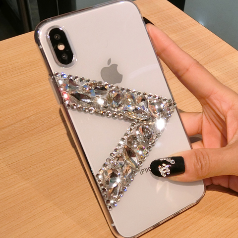 Clear Transparent V Rhinestone Deco Phone Case for Samsung gallery 1