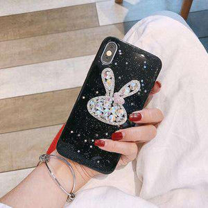 Luxury Bling Rabbit Head Artificial Rhinestone Diamond iPhone Case