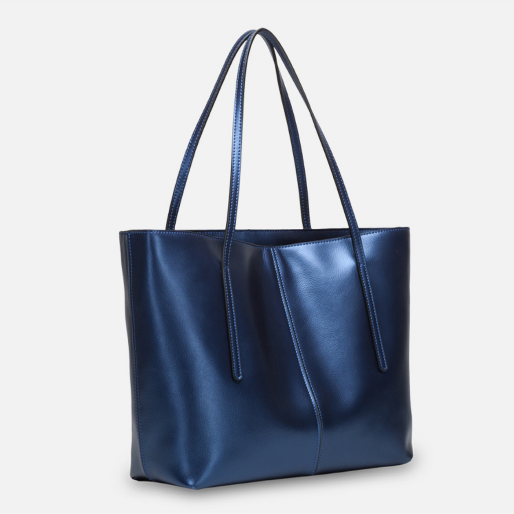 Hot Sale Silver Blue Leather Tote