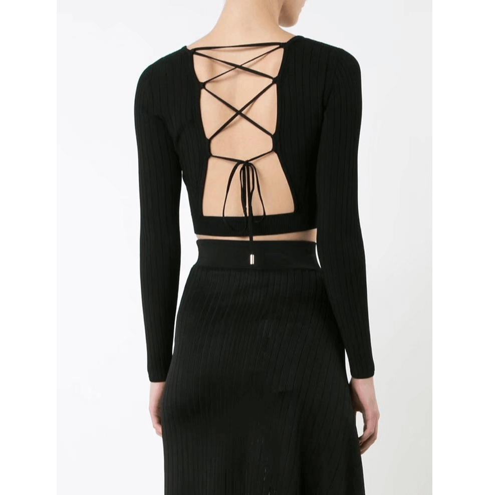 Sexy Lace Up Back Ribbed Slinky Knitwear
