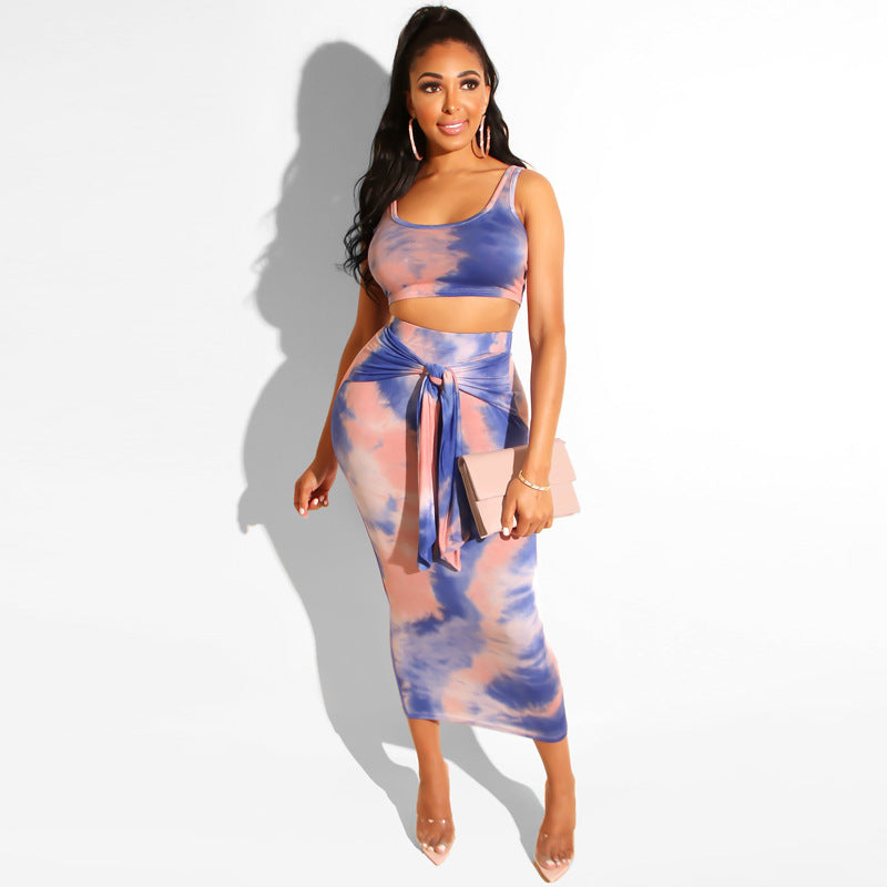 Tie Dye Scoop Neck Tied Front Sleeveless Top & Skirt Set