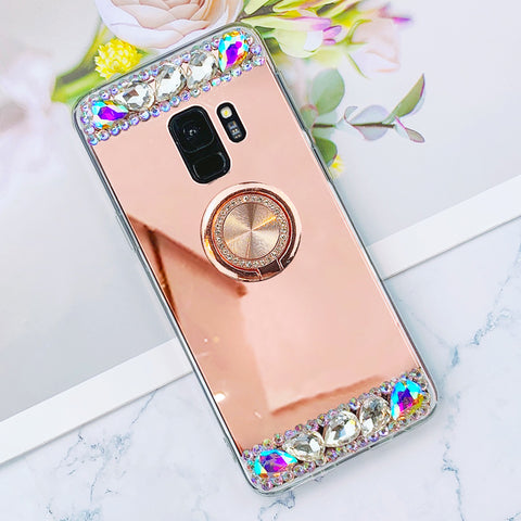 Luxury Bling Patchwork Phone Case for Samsung with Phone Holder