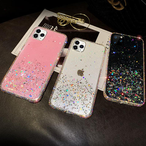 Clear Flowing Glitter Rhinestone Deco Phone Case for Samsung gallery 4