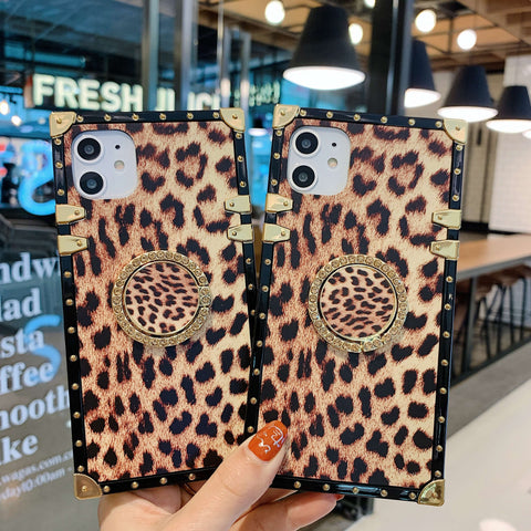 Leopard Print Rivet Deco Square Phone Case for Samsung with Phone Holder gallery 4