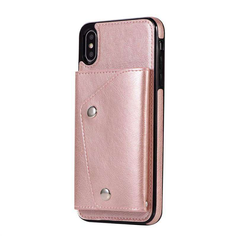 Pure Color Purse Style iPhone Case With Card Holder