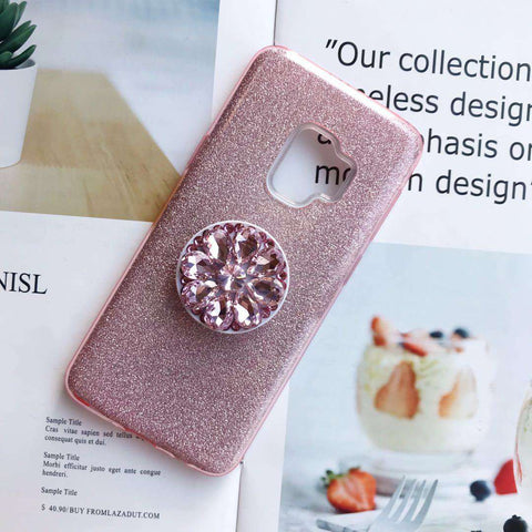 Luxury Solid Color Bling Samsung Case with Phone Holder gallery 1