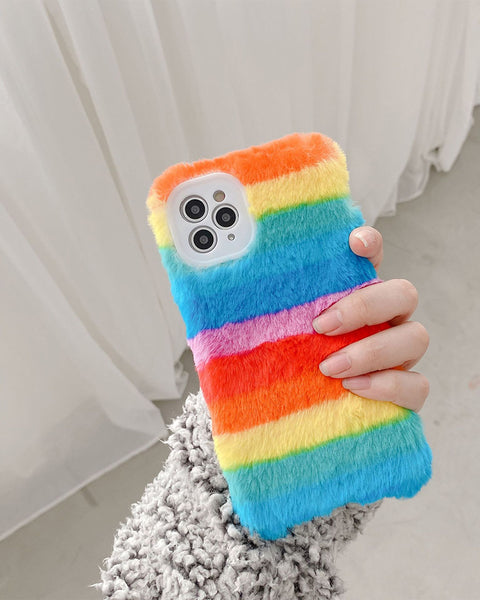 Fluffy Contrast Color Rainbow Stripe Flannel iPhone Case