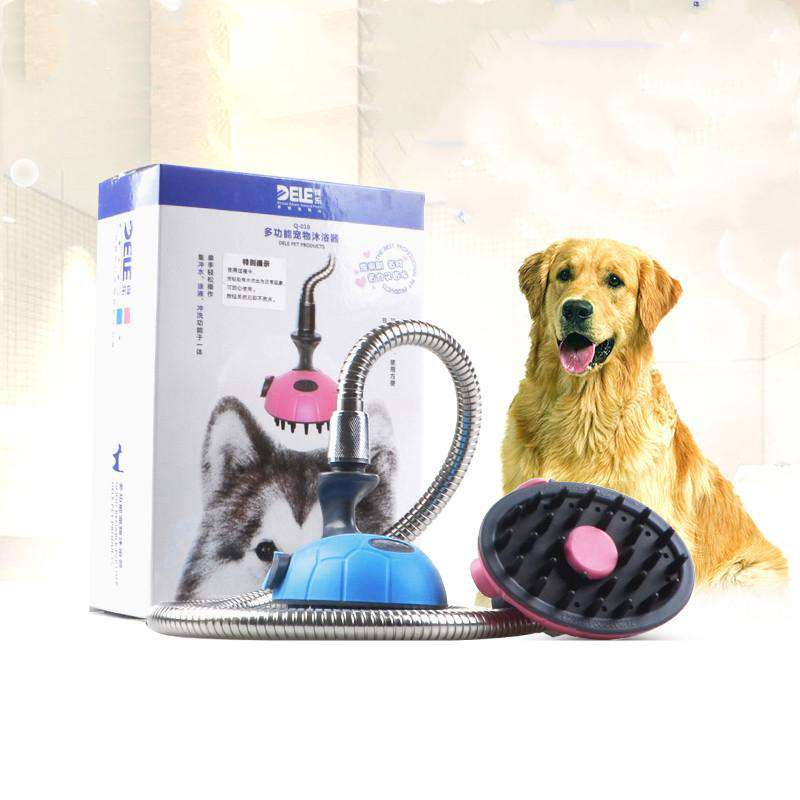 Handheld Grooming Shower with Massage Shampoo Brush &Stainless Steel Hose for Pets