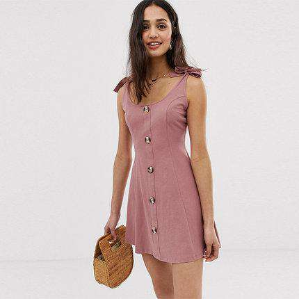 Slimming Bow Tie Button Sleeveless Sling Dress gallery 1
