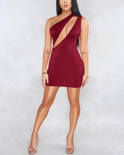 Sexy One Shoulder Bust Cut Out Bodycon Dress gallery 1
