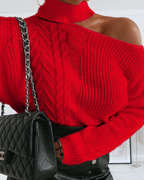 Mixed Knit One Shoulder Solid Sweater