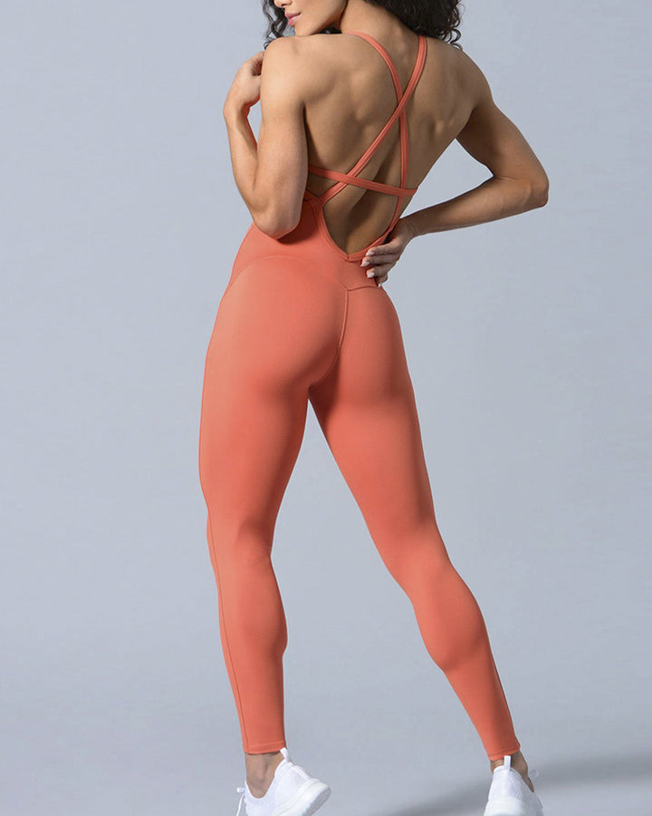 Criss Cross Cut Out Back Sports Jumpsuit gallery 3