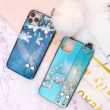 Floral Pattern With Strap And Plush Ball Phone Case For All Apple Phone - iPhone 11