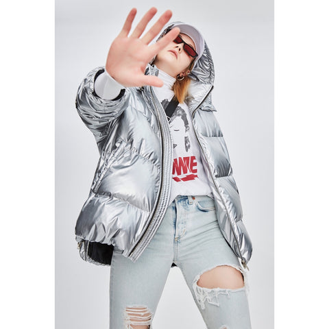 Glam 5 Colors Metallic Oversized Hooded Funnel Collar Loose Puffer Jacket