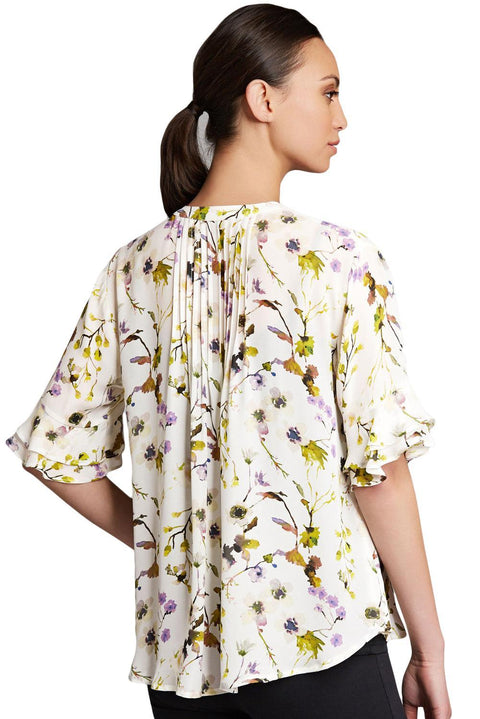Draped Floral Blouse with Flounced Sleeves gallery 2