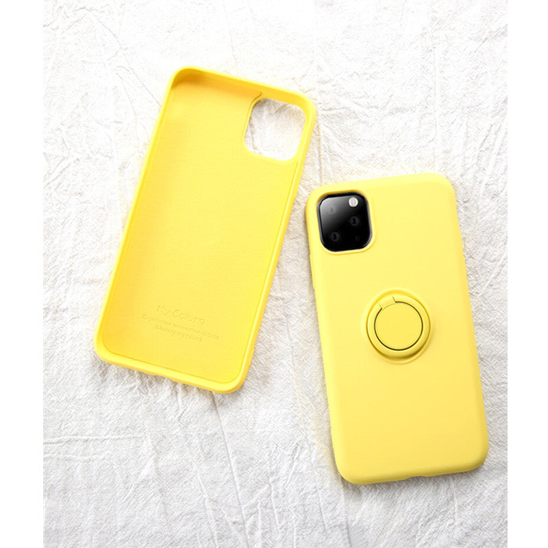 Yellow Soft Liquid Silicone iPhone Case with Phone Holder