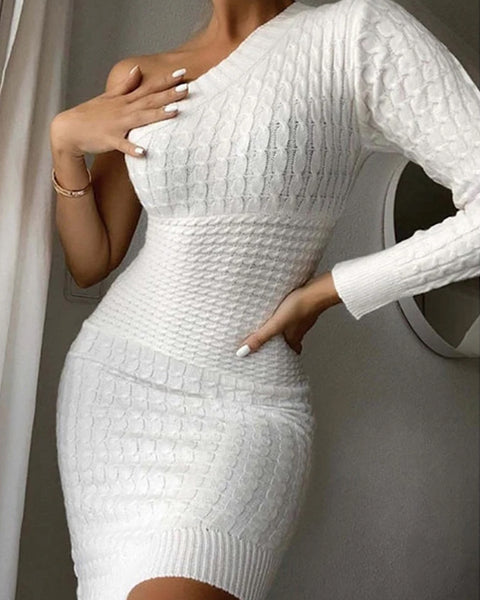 Cable Knit One Shoulder Slim Fit Sweater Dress