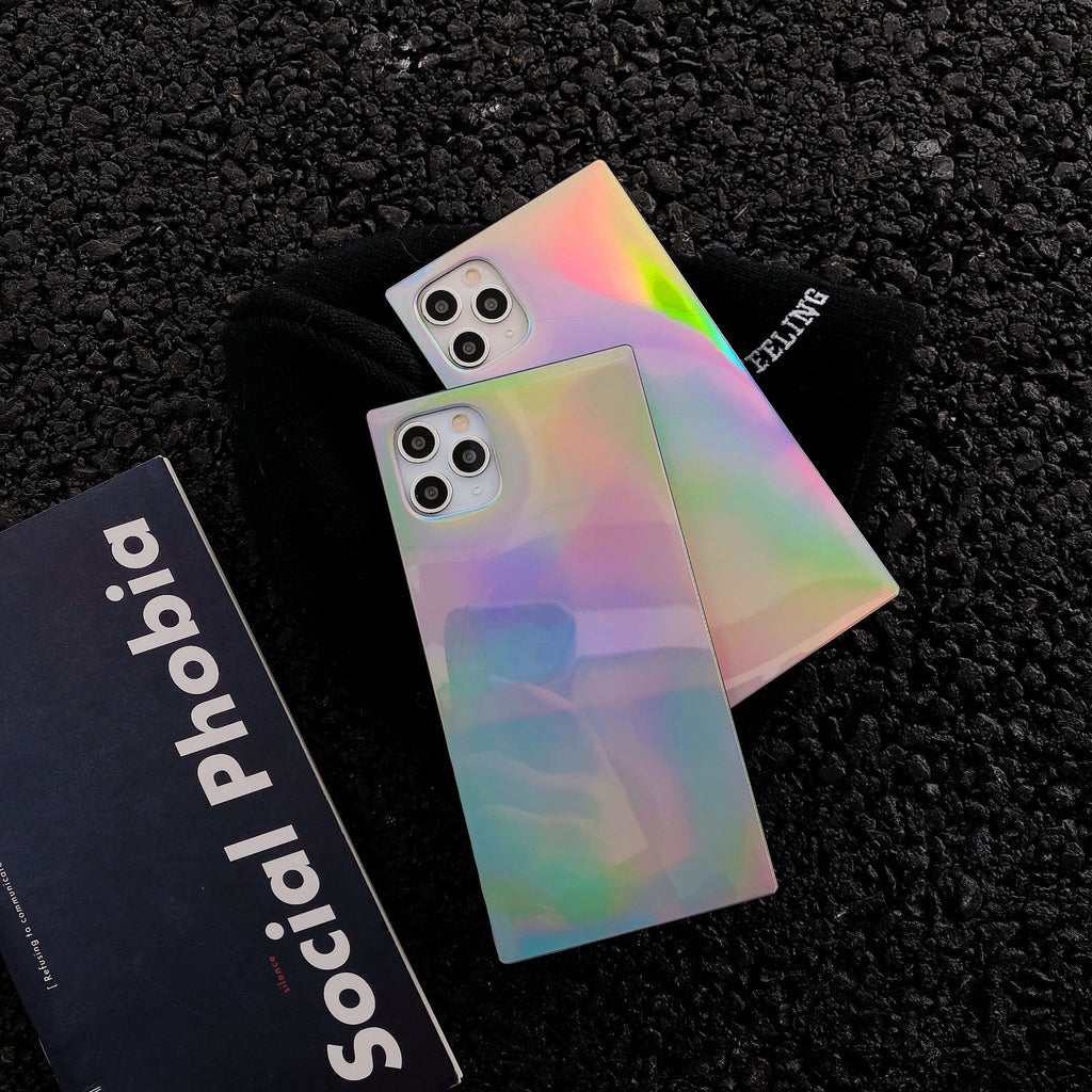Glossy Gradient Laser Square iPhone Case