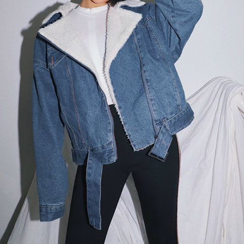Loose Cropped Fur Inside Denim Jacket