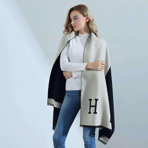 Autumn Winter Pashmina Scarf Dual Purpose Thickening H Letter Print Patchwork Shawl For Women gallery 1